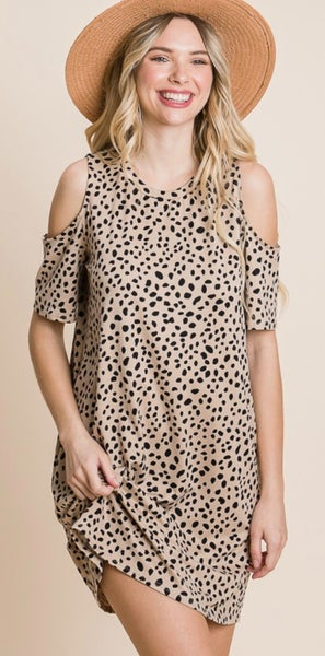 Leopard Print Cold Shoulder Dress with Pockets