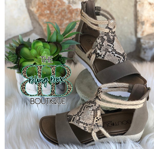 Corkys Browning Taupe Snakeskin Sandals