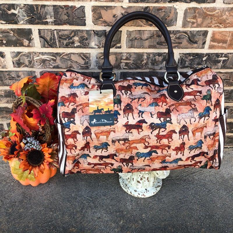 Horse Print Canvas Duffle Bag