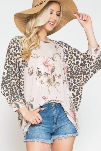 Taupe Floral Leopard Dolman Sleeve Top