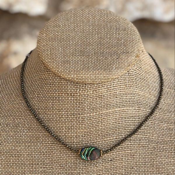 Abalone Hematite Crystal Choker Necklace