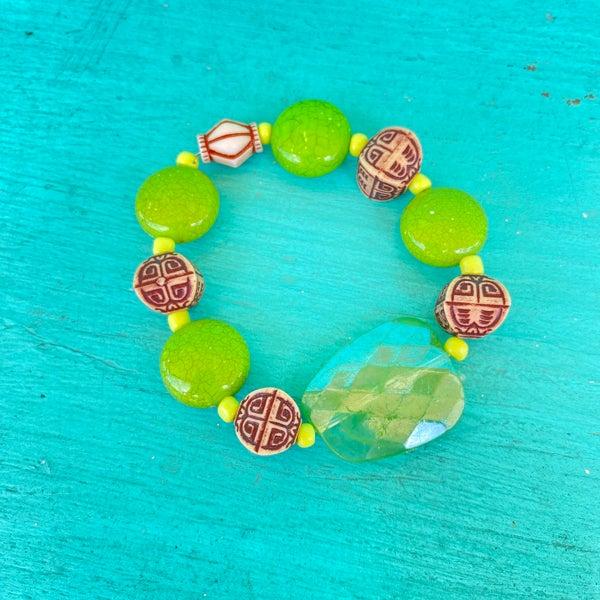 Bonnie Angela Green Crystal  Stretch Bracelet #1