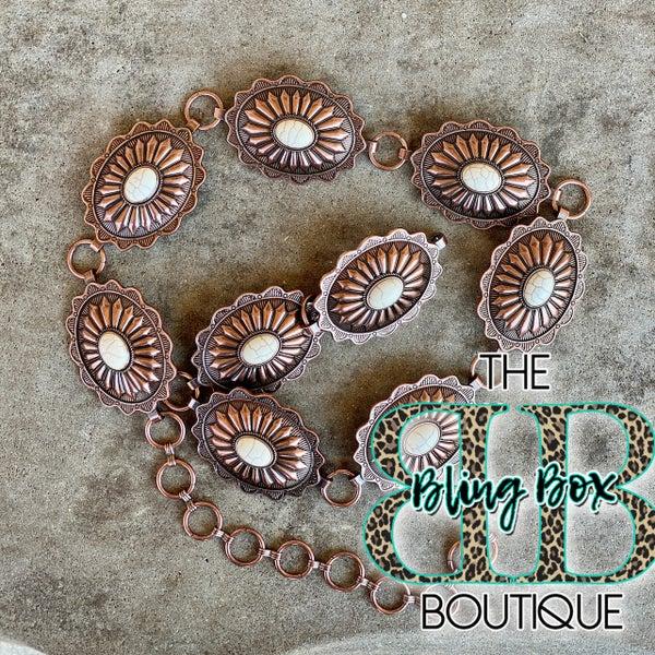 Bronze Concho with White Stone Chain Belt S/M