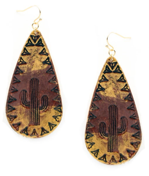 Brown Leather & Gold Painted Cactus Teardrop Earring