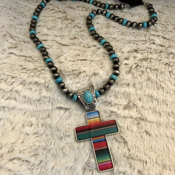"22"" Long Serape Cross Navajo Pearl & Turquoise Beaded Necklace"