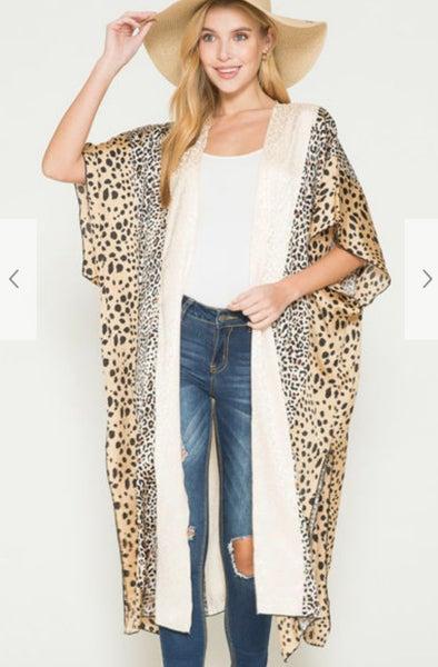 Silky Animal Print Long Duster Style Kimono