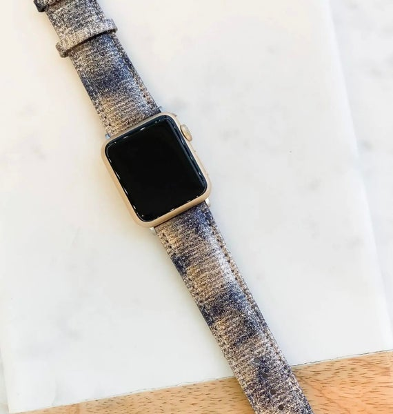Silver Distressed Metallic Leather Apple Watch Band 38/40 mm