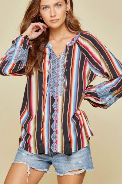 Serape Embroidered Long Sleeve Savanna Jane Top