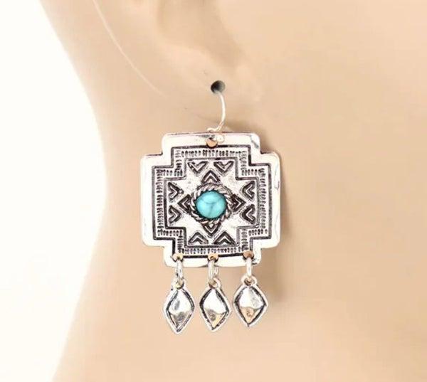 Cross Concho Dangle Earrings