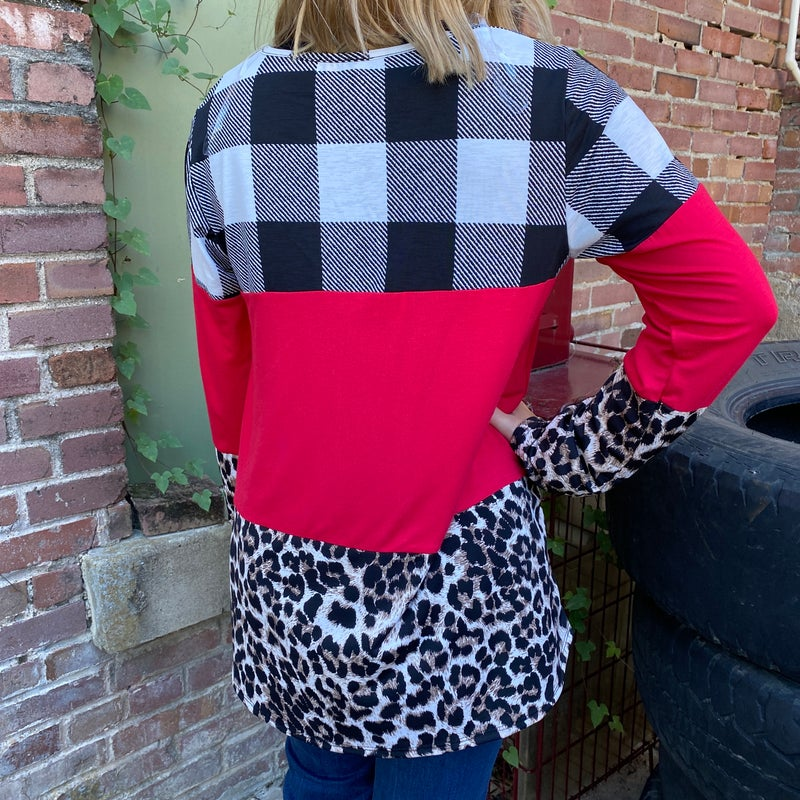 Red Leopard Plaid Color Block Top