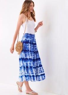 Blue & White Tie Dye Stretch Waist Skirt