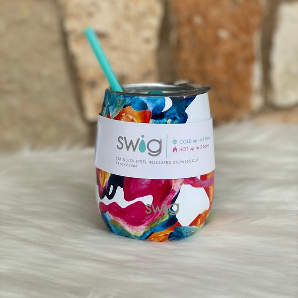 Color Swirl Signature 14oz Stemless Cup