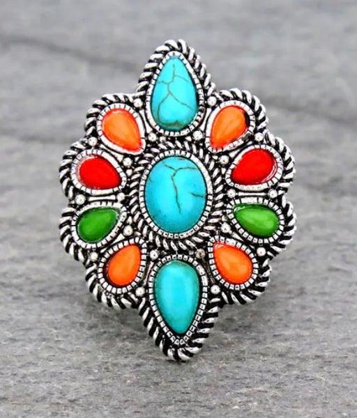 Multi Color Stone Stretch Fashion Ring