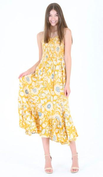 Mustard Floral Long Maxi Sun Dress