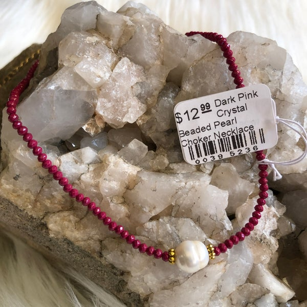 Dark Pink Crystal Beaded Pearl Choker Necklace