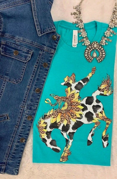 Turquoise Cowhide & Sunflower Bronco T-Shirt