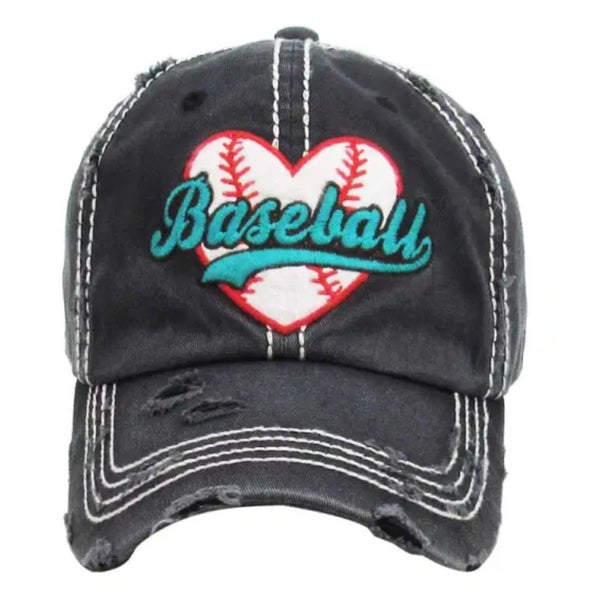 Baseball Heart Charcoal Hat