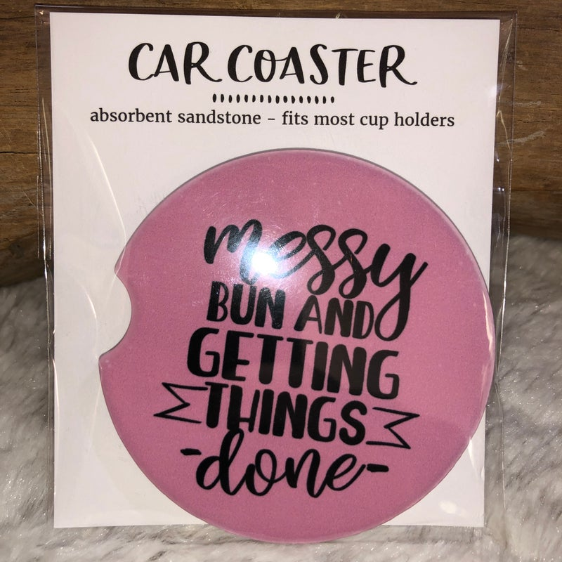 Messy Bun Sandstone Car Coaster