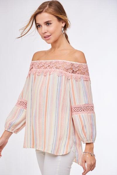 Pink Off Shoulder Striped 3/4 Sleeve Top