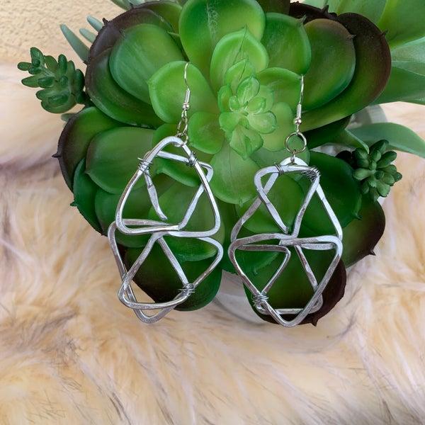 Bonnie Angela Triangle Infinity Earrings - Silver