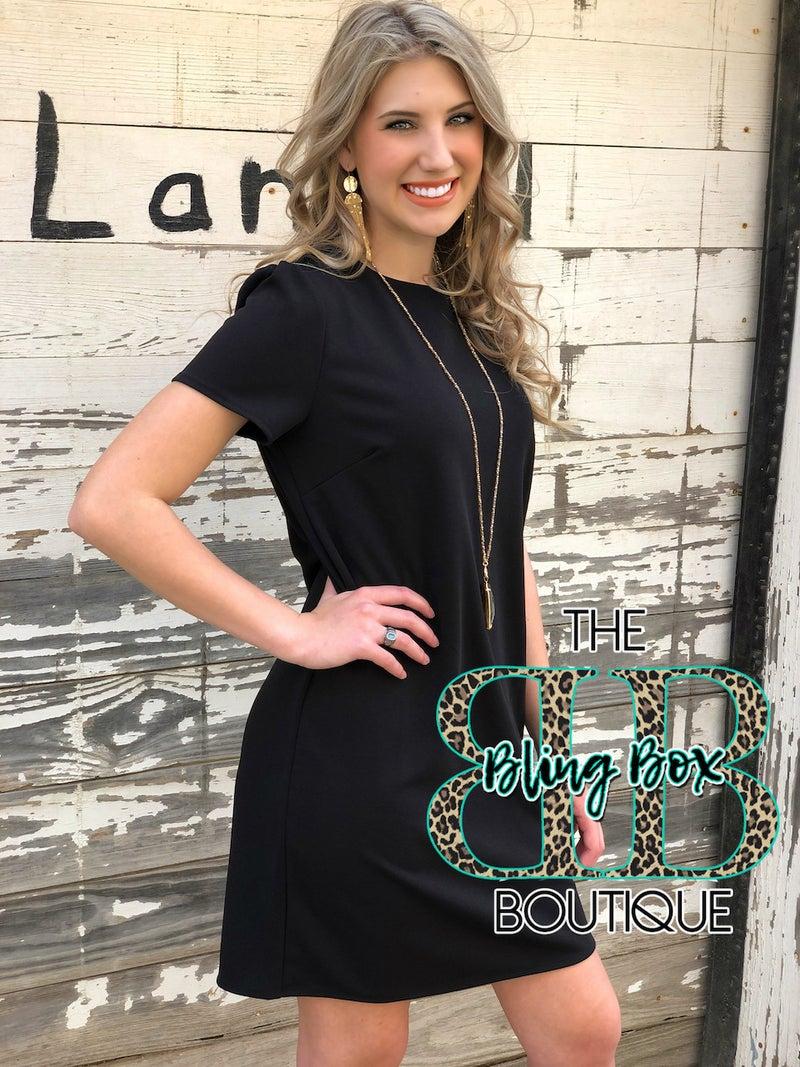 Solid Black Short Sleeve Shift Dress