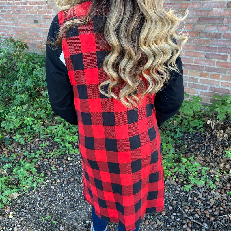 Red & Black Buffalo Vest with Pockets
