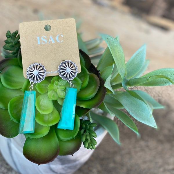 Turquoise Acrylic Concho Earrings