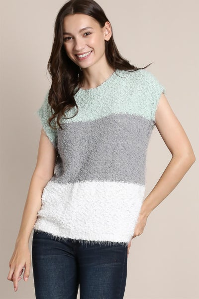 Mint Colorblock Soft Popcorn Knit Sleeveless Top