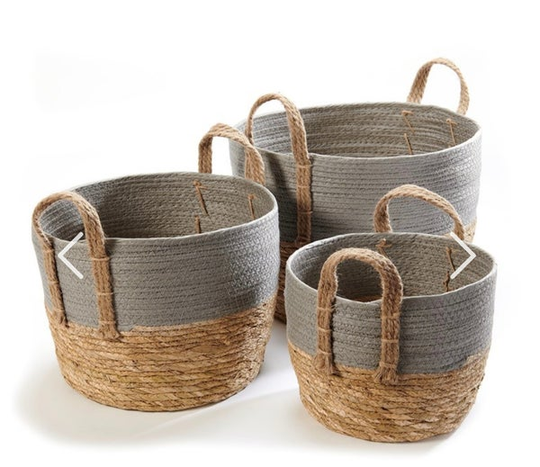 Set of 3 Storage Baskets - Grey & Brown