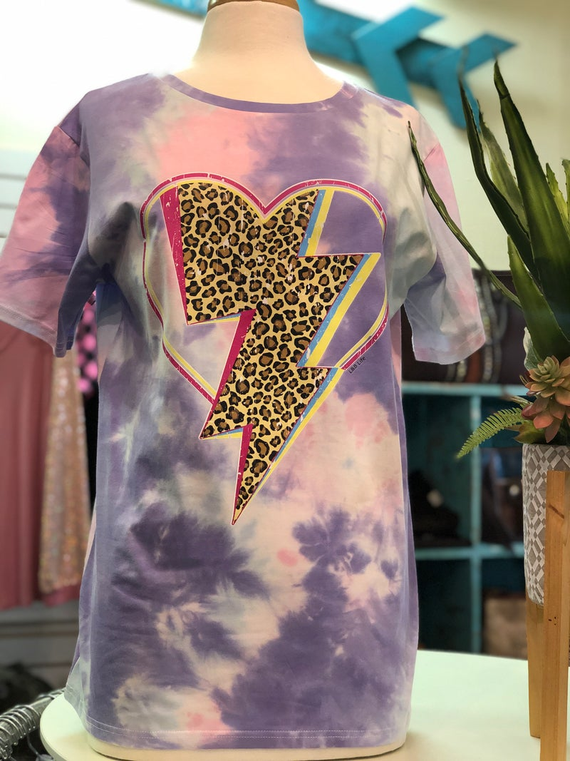 Leopard Lightning Bolt Heart on Purple Tie Dye Tee