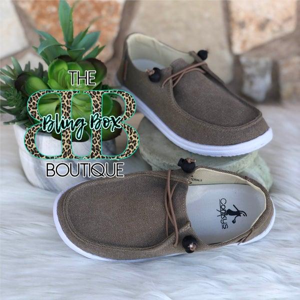 Corkys Kayak Khaki Slip On Tennis Shoes