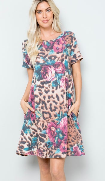 Leopard Floral Short Sleeve Dress With Pockets