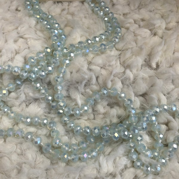 """Clear AB 60"""" Crystal Beaded Necklace"""