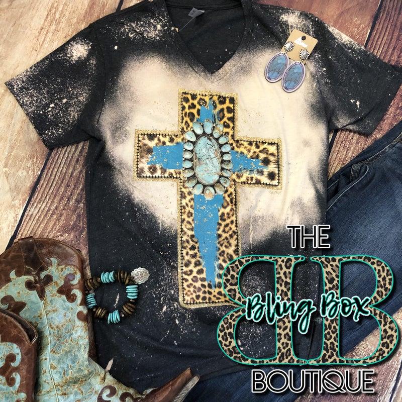 V-Neck Bleach Turquoise Stone Leopard Cross T-Shirt