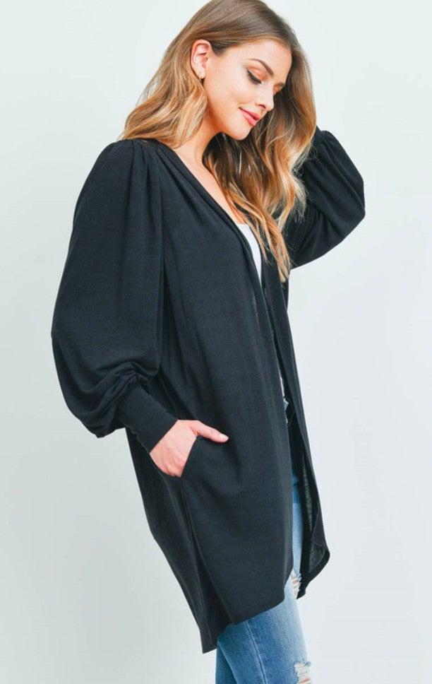 Black Oversize Knit Cardigan with Lace Neck