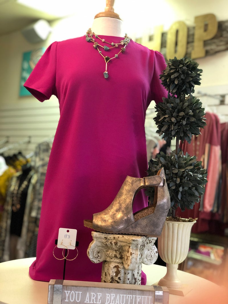 Solid Magenta Pink Short Sleeve Shift Dress