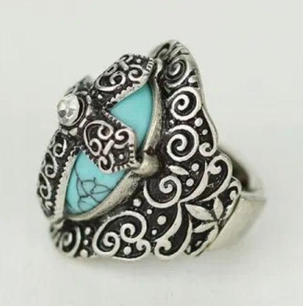 Cross Turquoise Filgree Stretch Ring