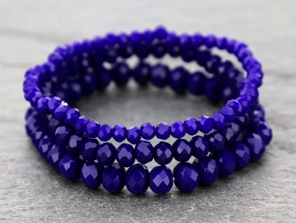 Royal Blue 3-Piece Stretch Bracelet Set