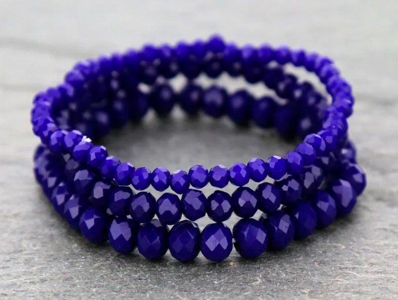 Royal Blue 3-Piece Stretch Bracelet Set