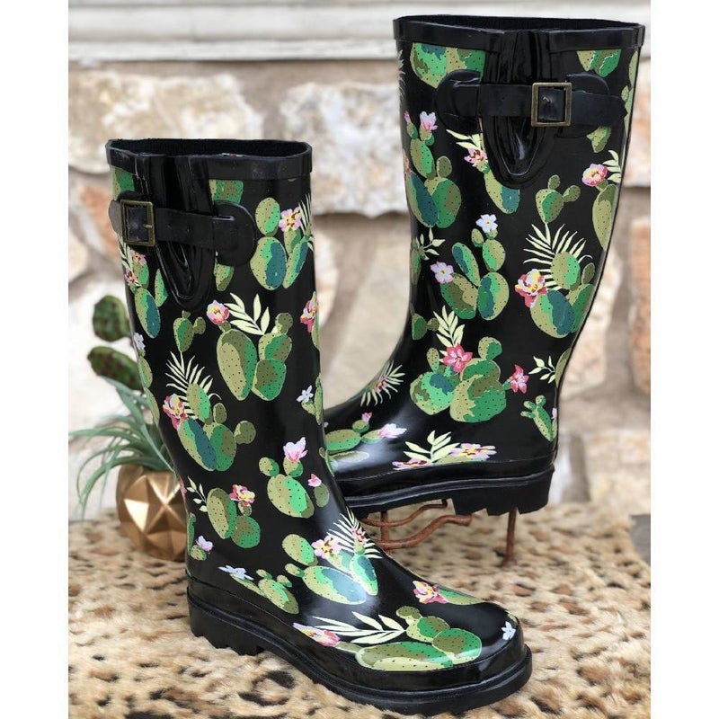 Cactus Print Rain Boots SIZE