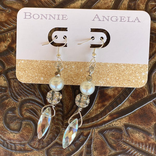 Teardrop Pearl Rhinestone Bonnie Angela Earrings