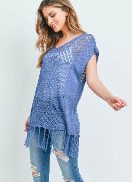 Blue Short-Sleeve Knit Tunic Tassel Fringe Hem