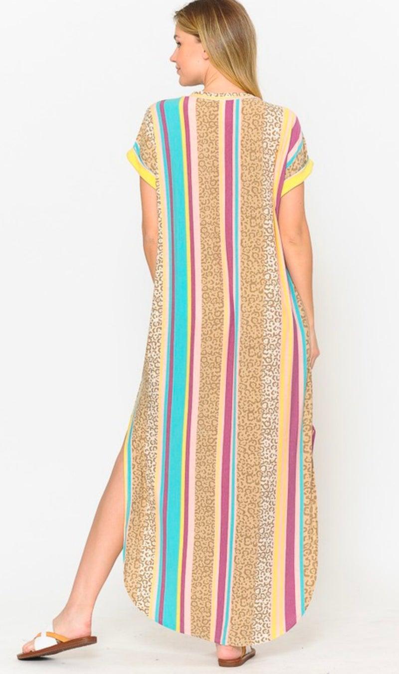 Pastel Leopard Stripe Maxi Dress