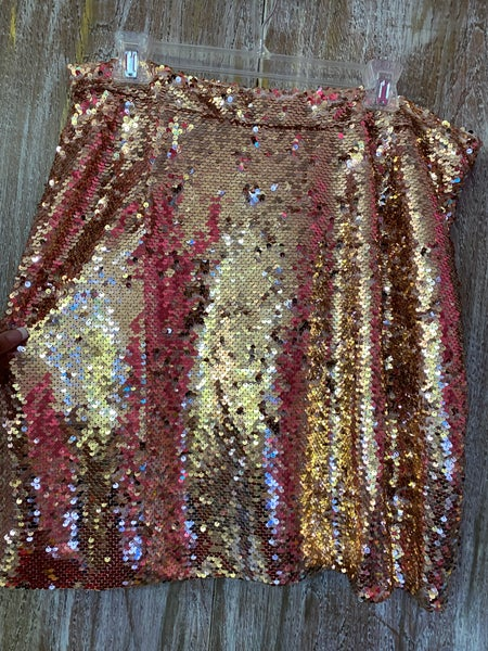 Rose Gold Sequin Skirt - XL ONLY