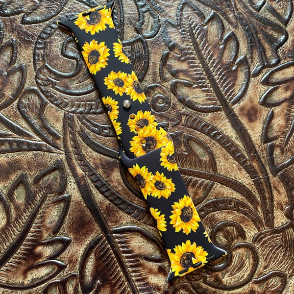 Sunflower & Black Rubber Apple Watchband 38/40 mm