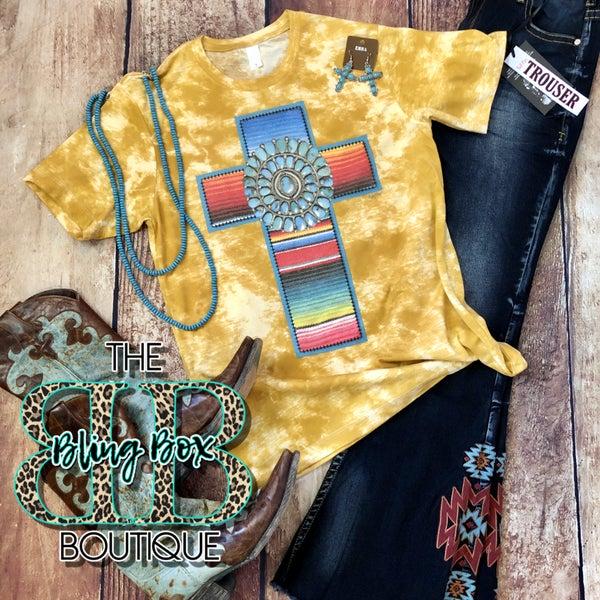 Mustard Tie Dye Turquoise Stone Serape Cross T-Shirt