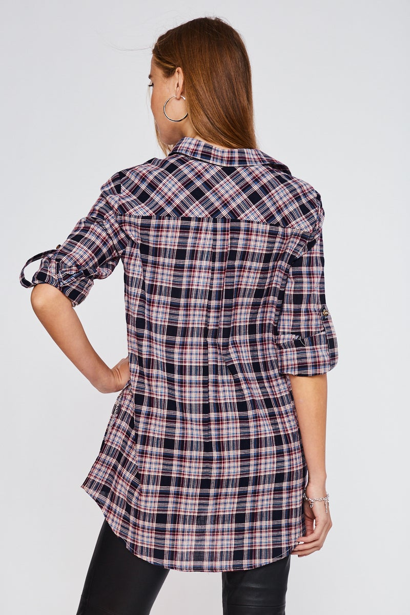 Navy Plaid Roll Up Sleeve Tunic