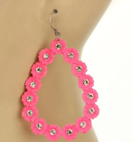 Hot Pink Open Flower Teardrop Earrings