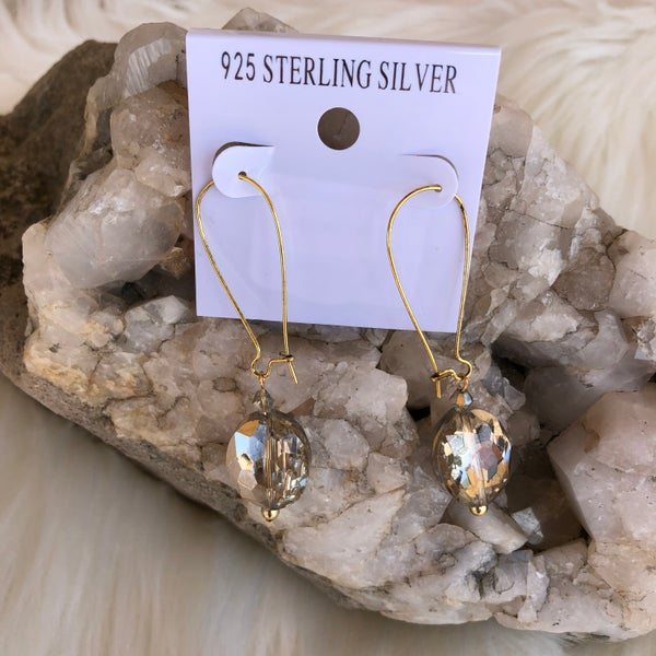 Topaz Gold Round Crystal Drop Earrings