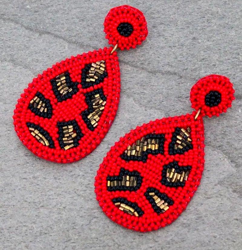 Red Leopard Seedbead Teardrop Stud Earrings